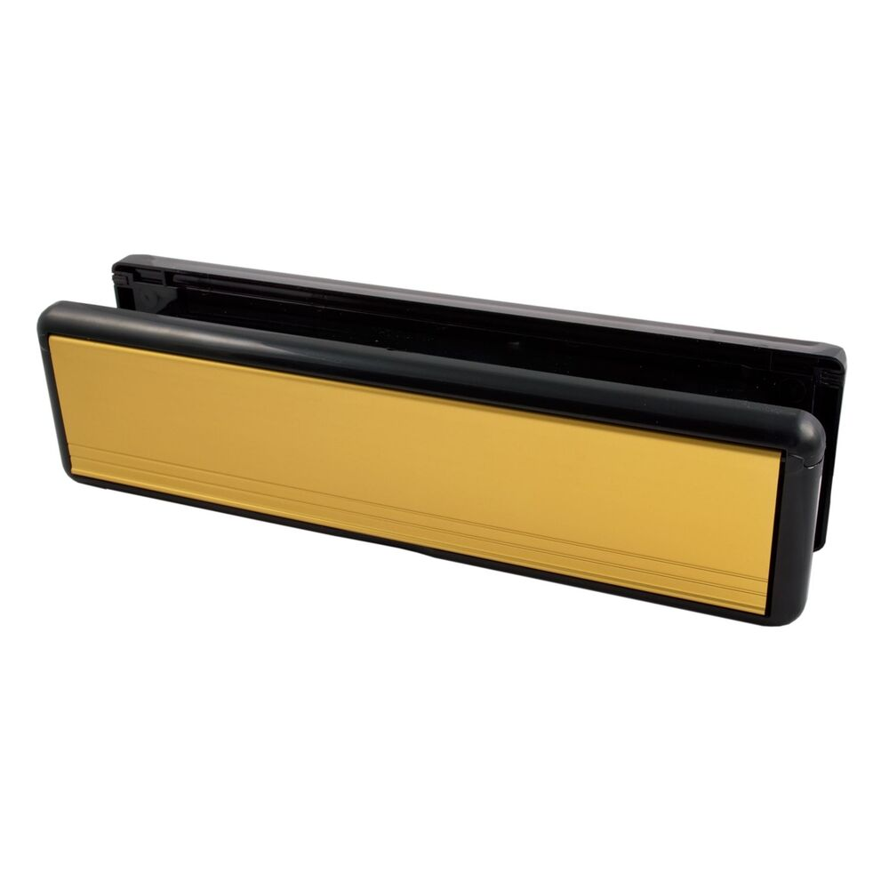 10 inch polished gold welseal letter box plate set upvc for Upvc french doors with letterbox