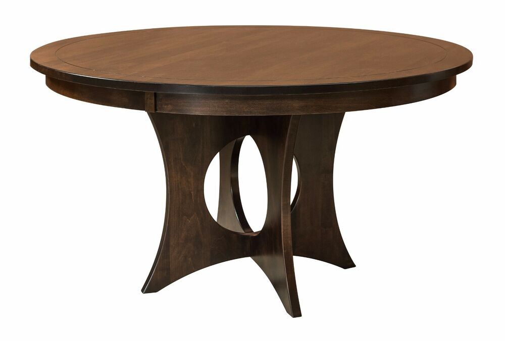 Amish Silverton Modern Pedestal Dining Table Solid Wood