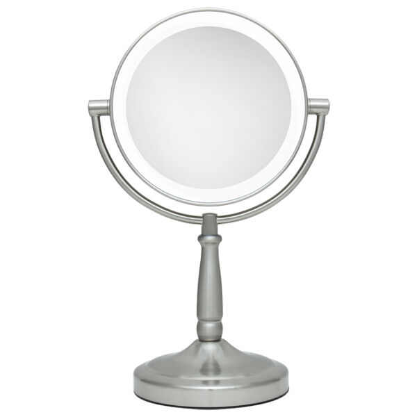 zadro 10x 1x led lighted round satin nickel vanity makeup mirror magnifying. Black Bedroom Furniture Sets. Home Design Ideas