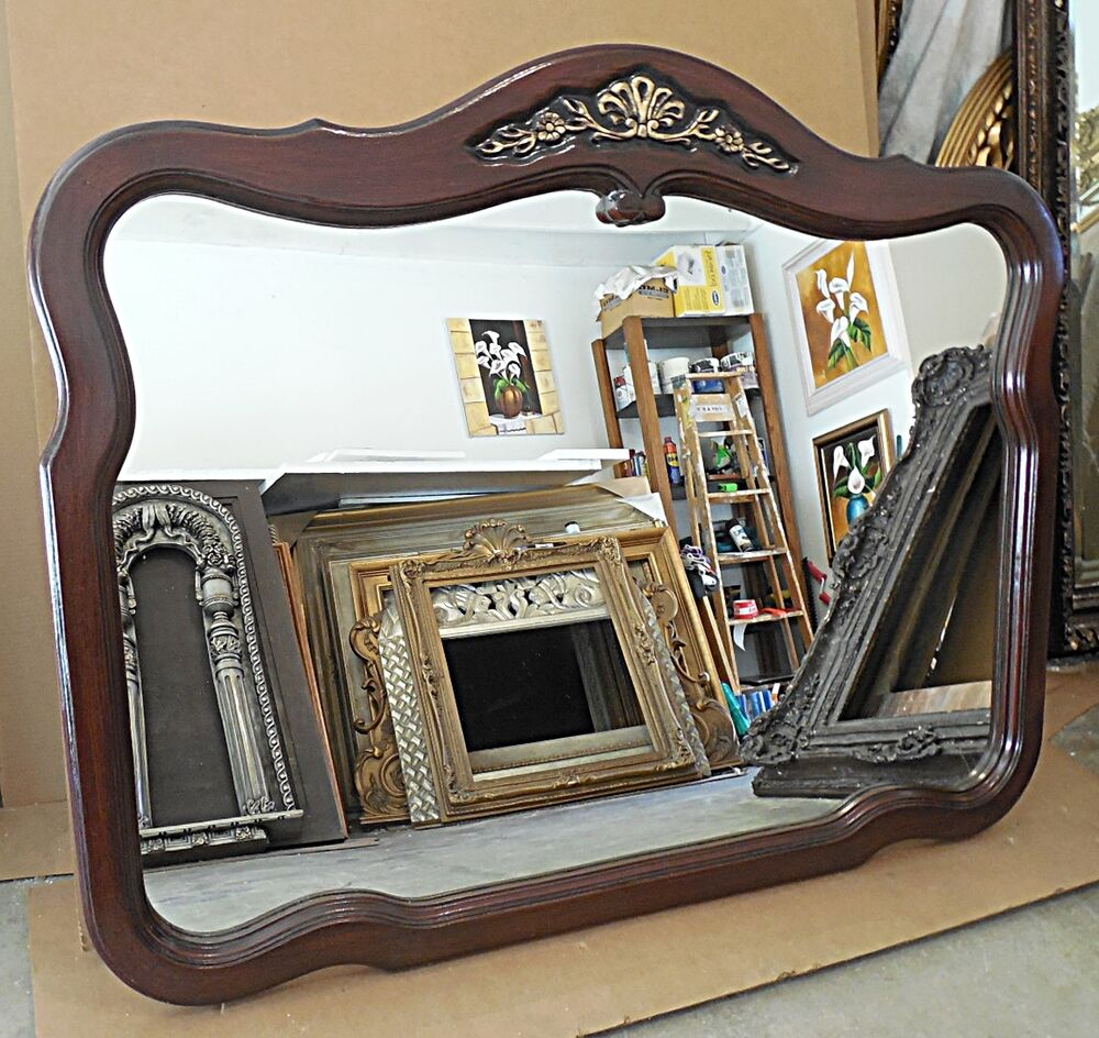 Large solid wood 40x51 arched rectangle beveled framed for Large framed wall mirrors