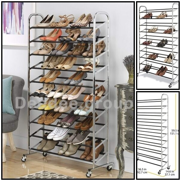 Large Shoe Rack Matel Organizer Storage Rolling Shelves