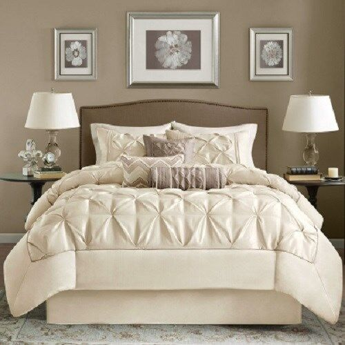 7 Piece Comforter Set Elegant Tufted Contemporary Style Bedding King Size Bed Ebay