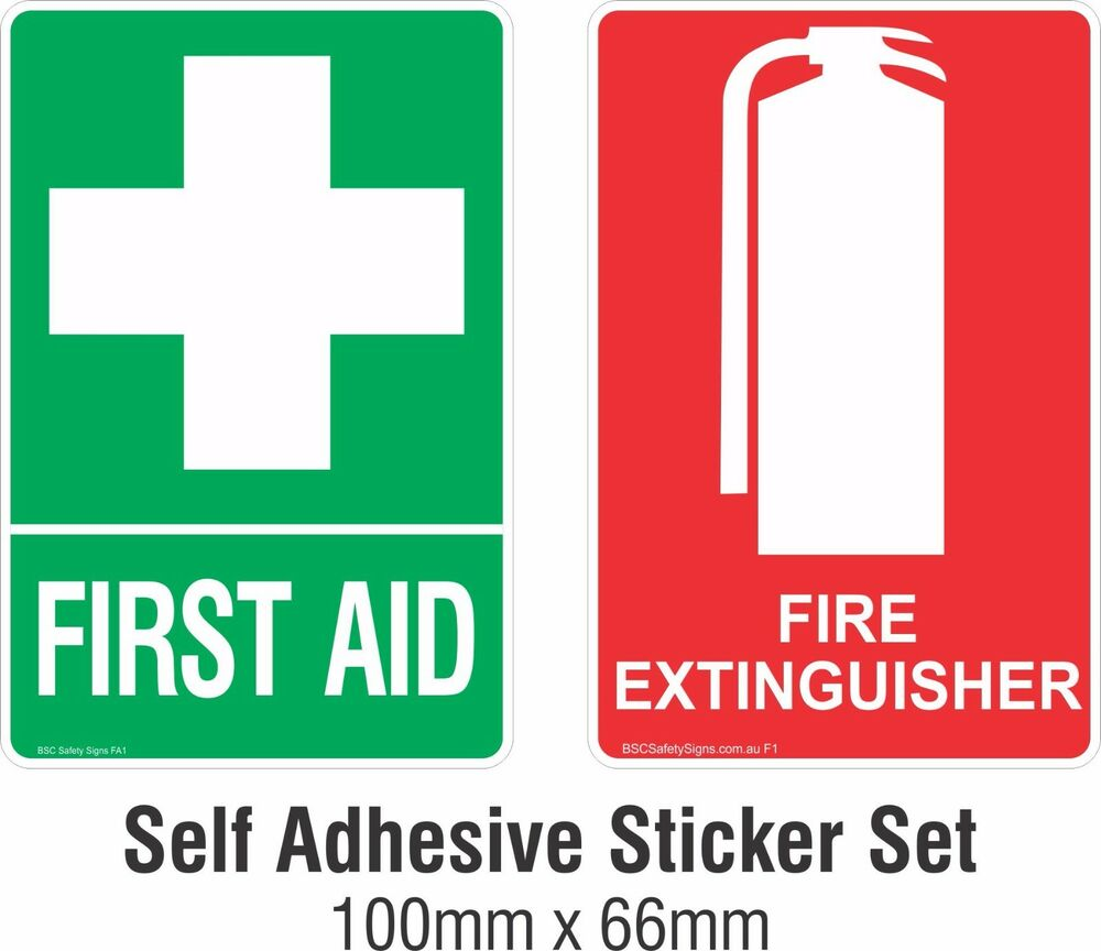 First Aid Amp Fire Extinguisher Sticker Sign Decal Set