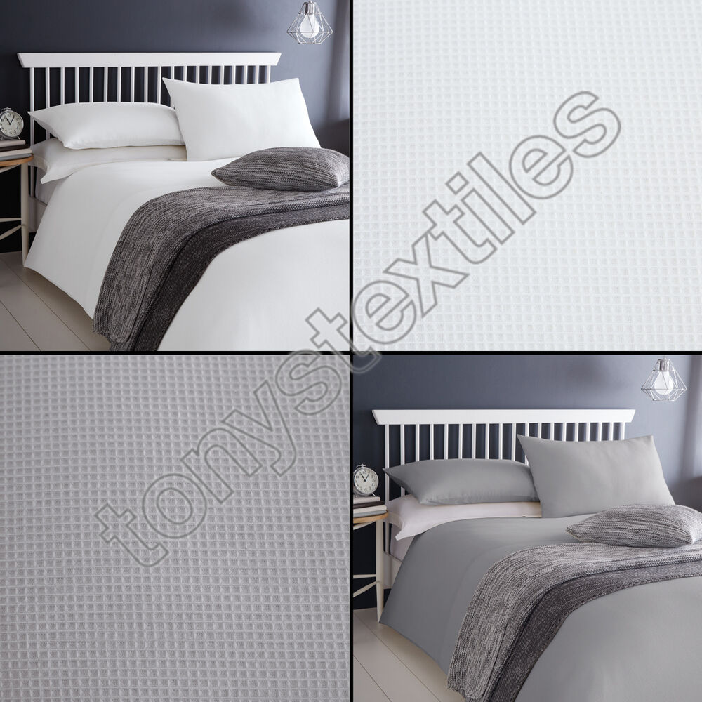 Luxury 100 Cotton Waffle Design White Grey Duvet Cover