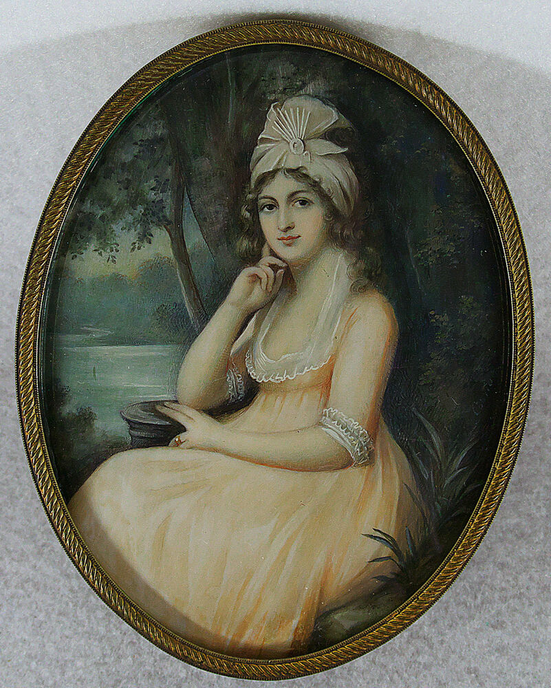 Richard cosway antique hand painted miniature portrait of for Hand painted portraits from photos