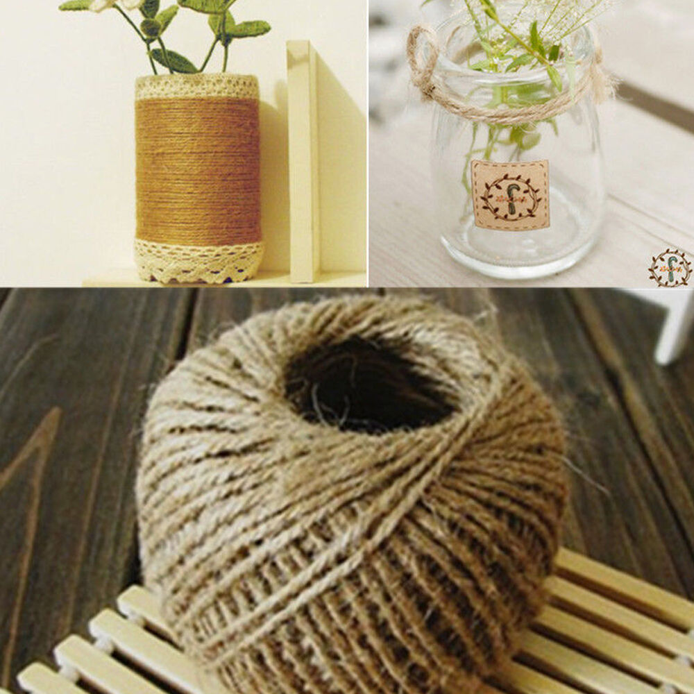 30m natural brown jute hemp rope twine string cord shank for Diy jute