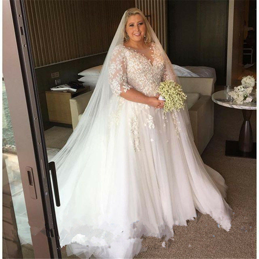 Plus size wedding dress applique tulle bridal gown custom for Best wedding dress styles for plus size brides