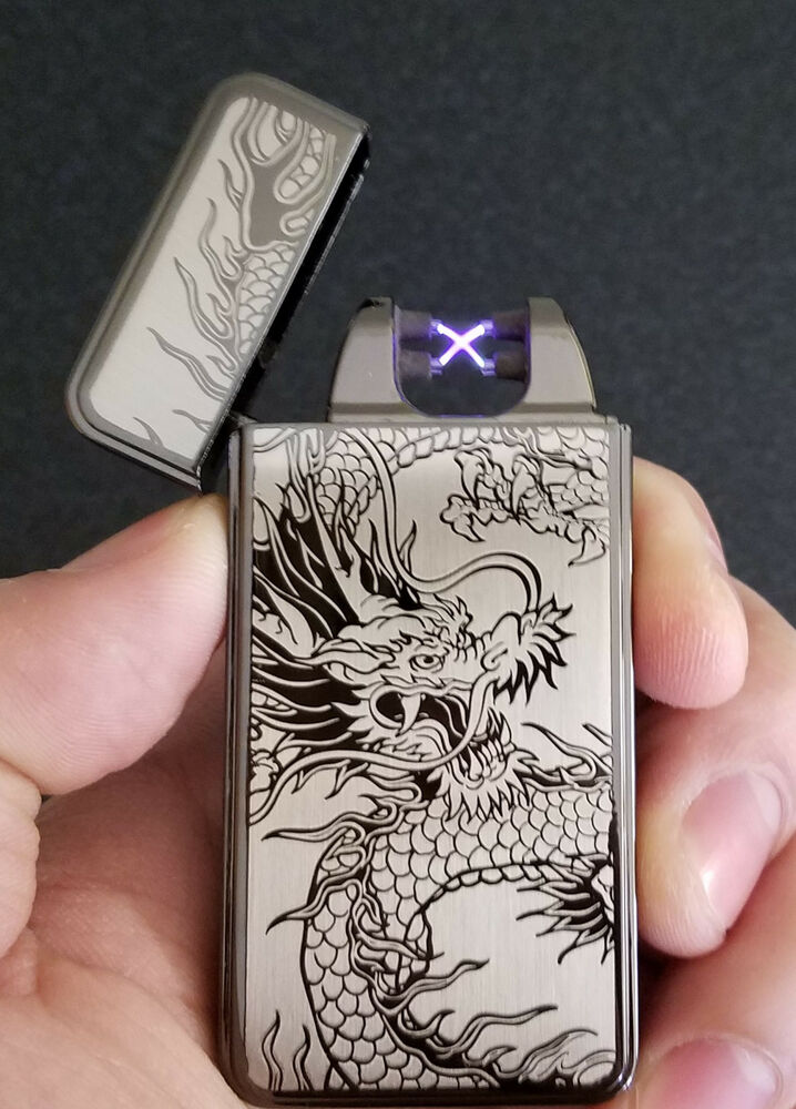 Black Dragon USB Rechargeable Flameless Windproof Dual Arc Electric Lighter | eBay