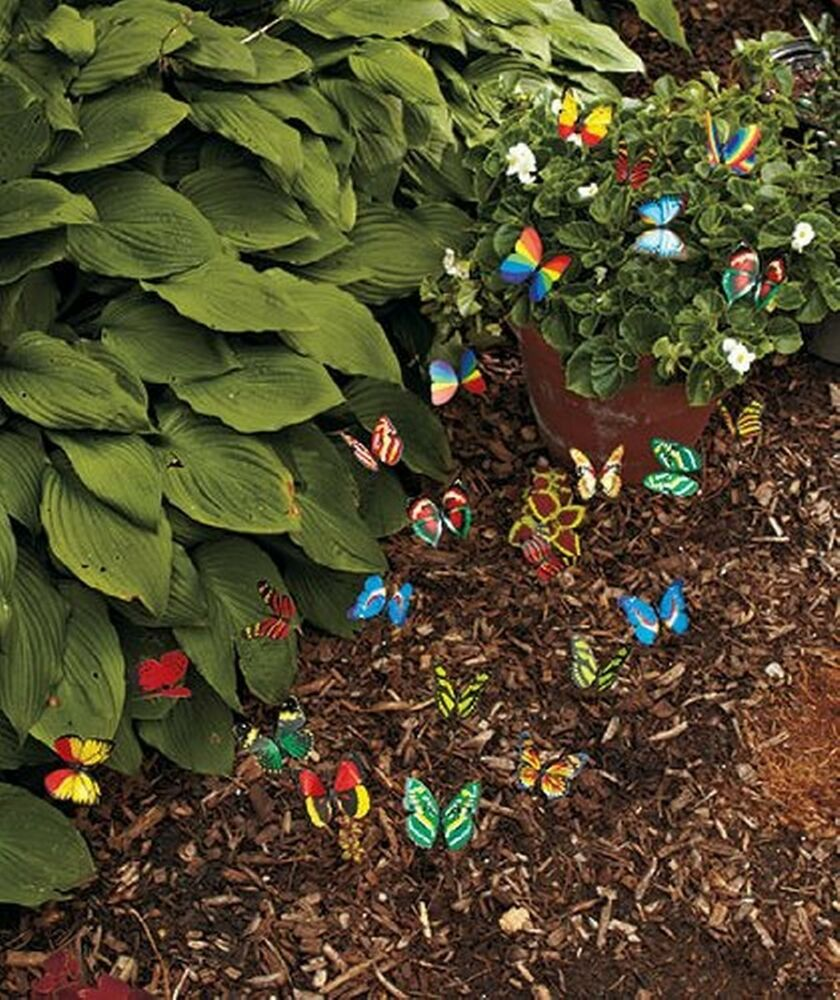New 24 garden yard planter colorful whimsical butterfly for Outdoor butterfly decor