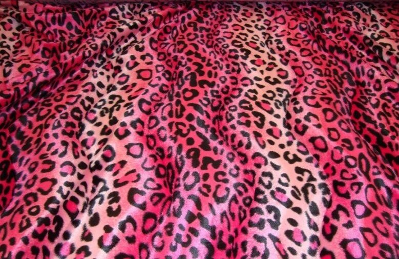 Faux Fur Leopard Upholstery Pink Velboa Fabric 58 Wide