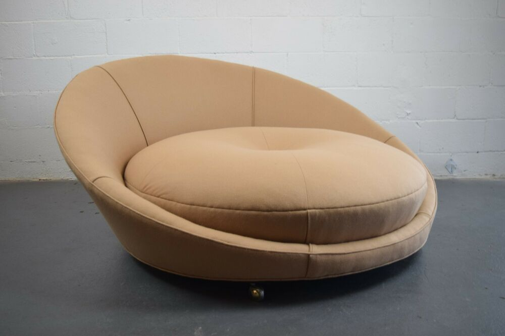 Milo baughman round chair mid century modern lounge chaise for Sectional sofa with round chaise
