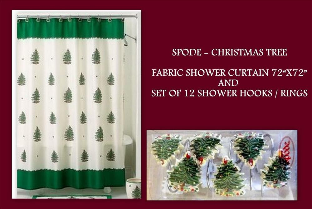 SPODE Holiday Christmas Tree Green Fabric Shower Curtain Hooks Rings Set NEW