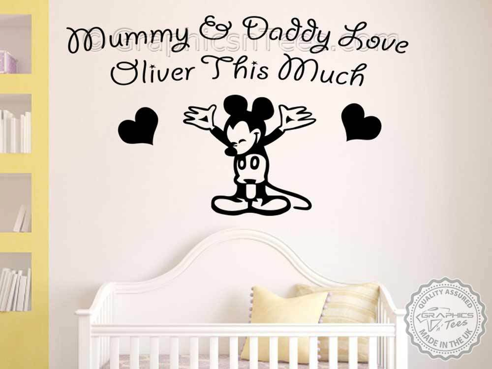 mickey mouse personalised wall sticker, baby boy girl nursery