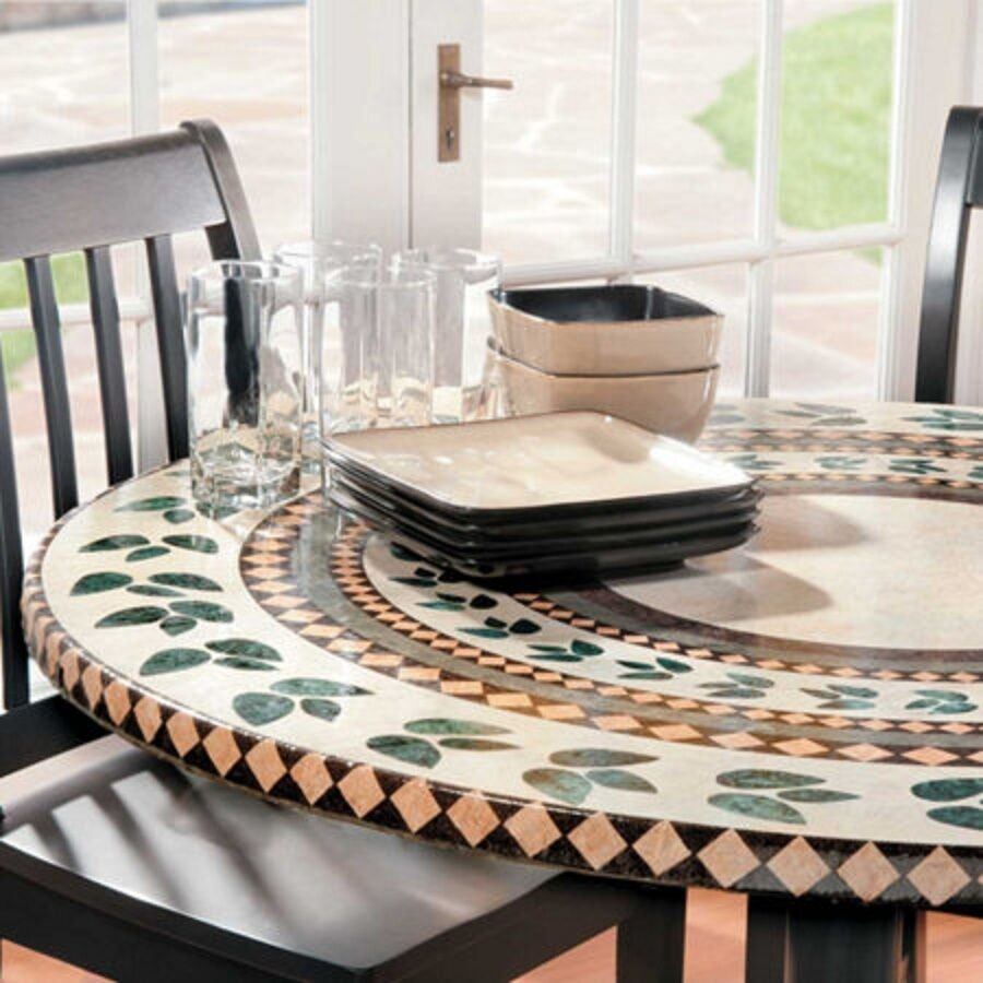 ... Mosaic Tile Elastic Fitted Vinyl Outdoor 48 Quot Patio Table Cover  Tablecloth Martlocal ...