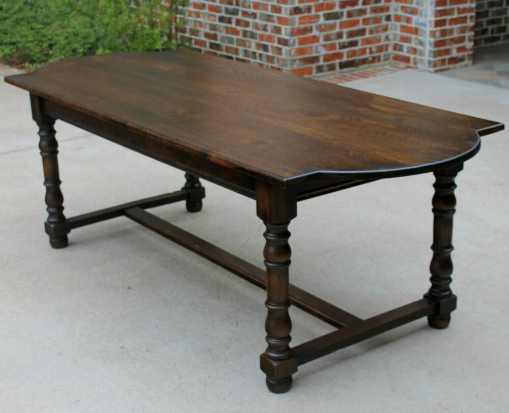antique french dark oak farm farmhouse dining table desk library table