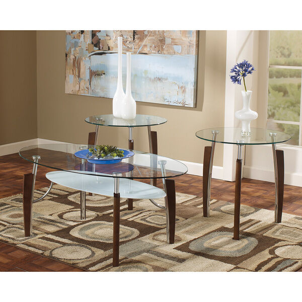 Ashley Mallacar Piece Coffee Table Set In Black T: Ashley Occasional Table Set (Set Of 3) Avani Nickel Finish