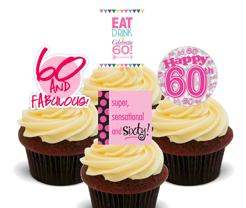 60th Birthday Female Edible Cupcake Toppers Stand Up
