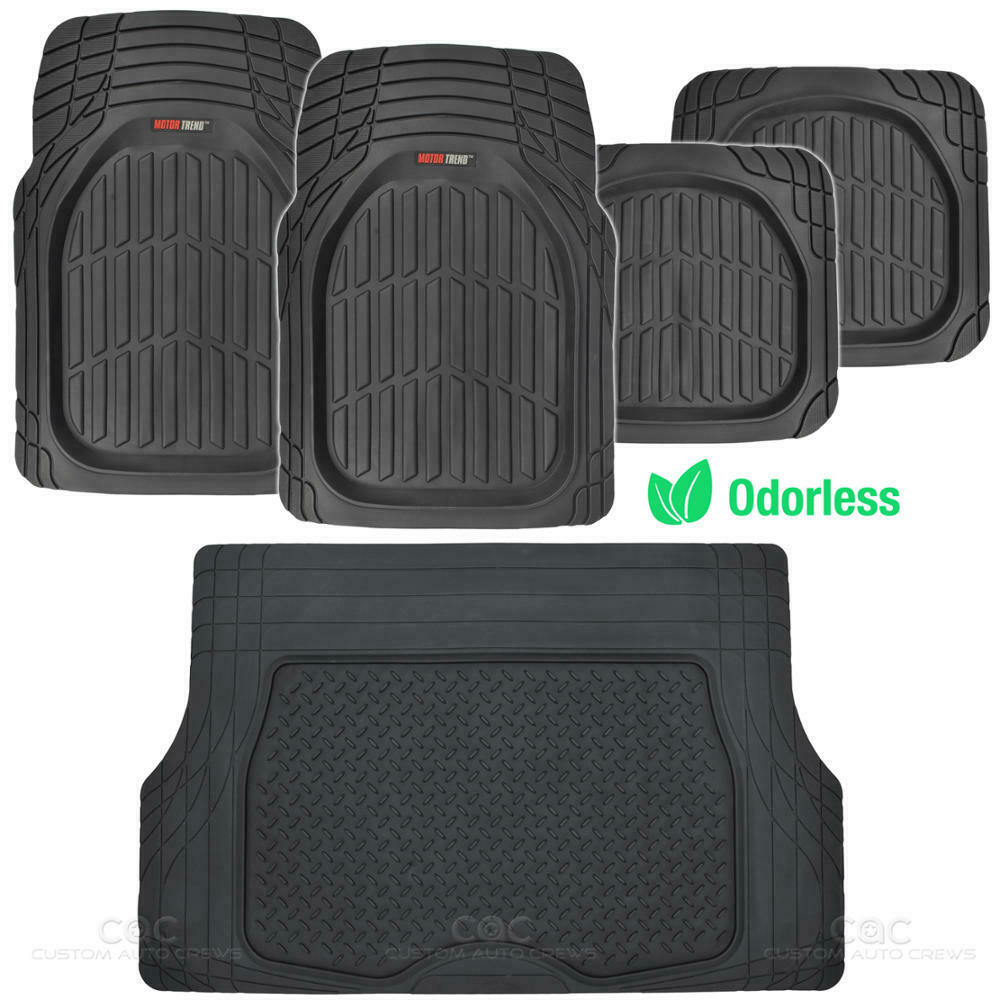 Black Deep Dish All Weather Hd Rubber Mats Package 5pc Floor Liners Cargo Mat 826942117008 Ebay