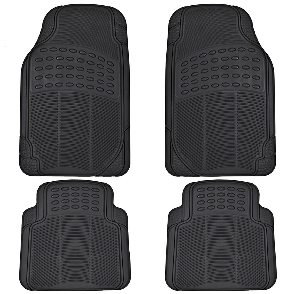 Car Rubber Floor Mats For All Weather Sedan SUV Truck 4 PC