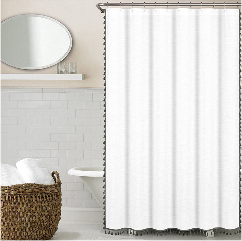 Luxury Shower Curtain White Cotton Linen Like Texture With Grey Tassels 72 X