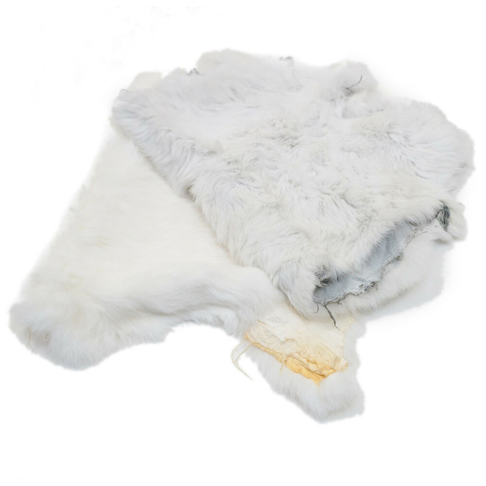 Springfield leather white large genuine rabbit fur pelt for Furry craft