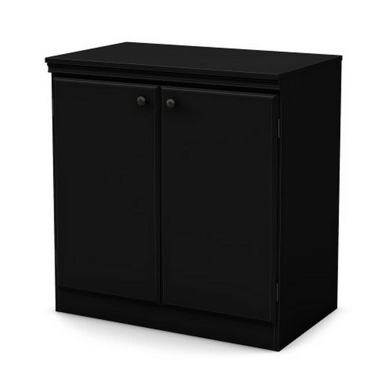 South shore morgan small 2 door storage cabinet pure for Black cabinet with doors