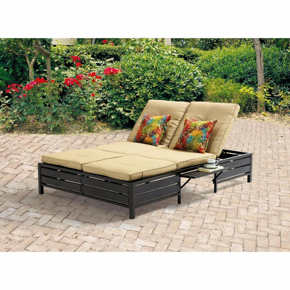 outdoor double chaise lounge patio pool furniture set sofa tan bed 2 seats new ebay. Black Bedroom Furniture Sets. Home Design Ideas