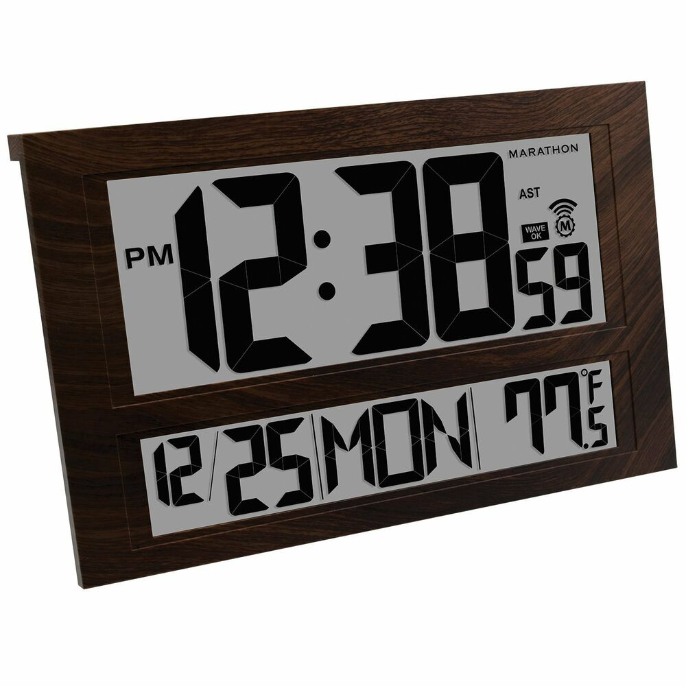 Large Digital Clock 6 Time Zones Wall Mount Watch Battery Office