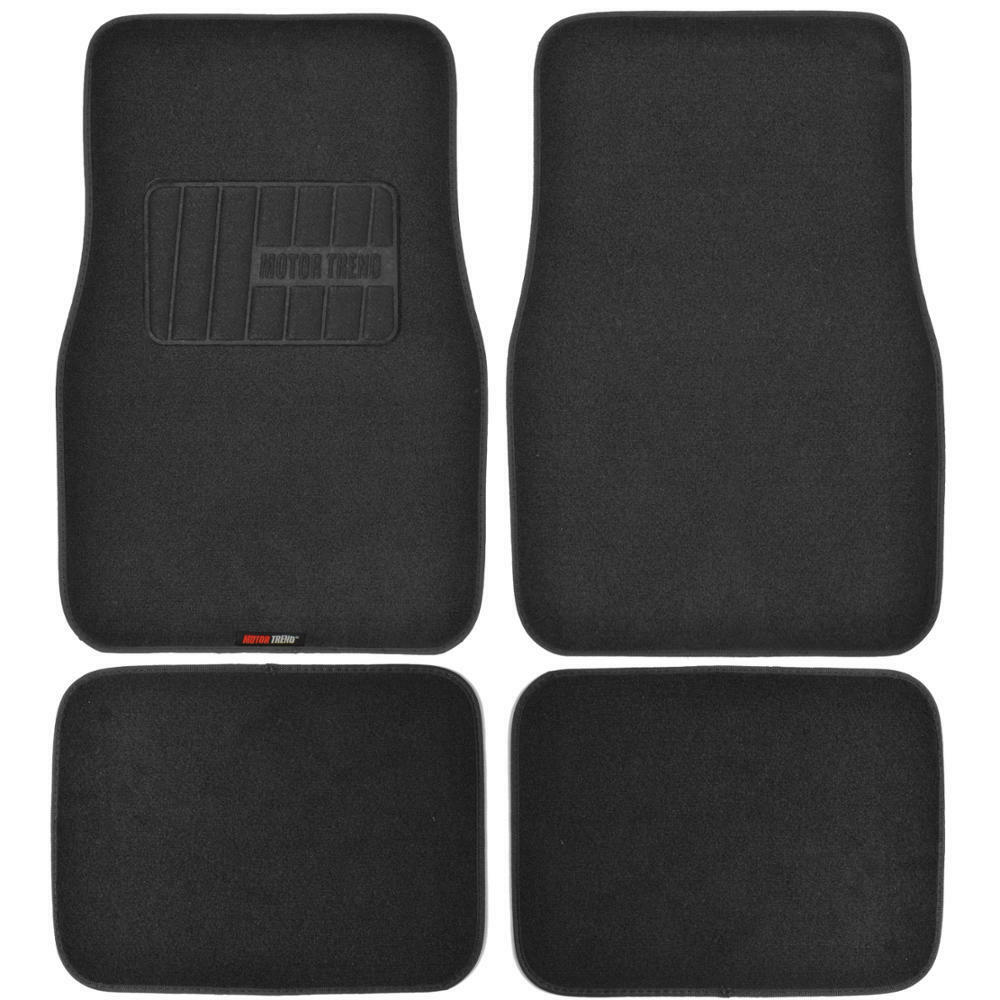 Heavy Duty Car Floor Mats Black Rubber Backing 4 Pc Motor