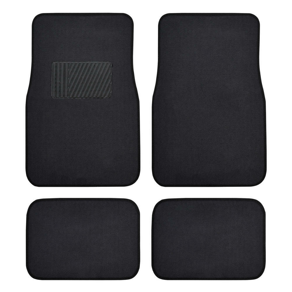 Auto Floor Mats For Car Classic Carpet W Heel Pad Black