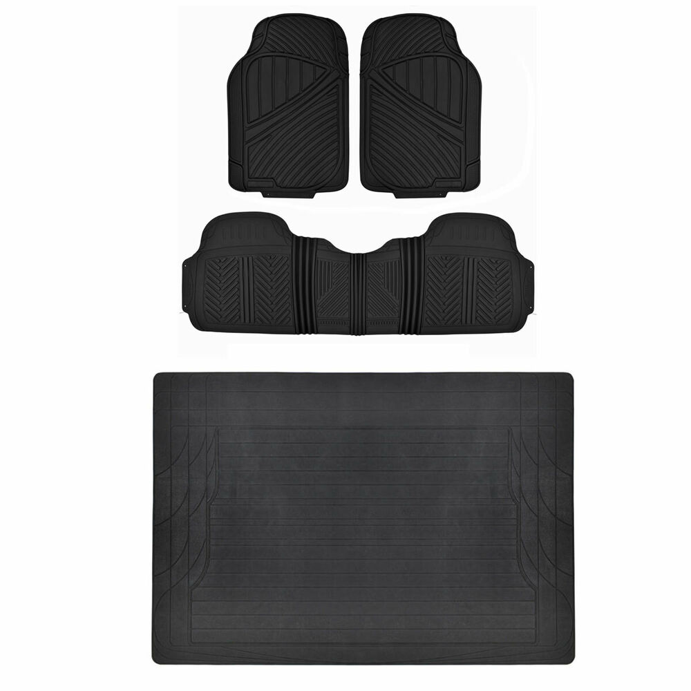 Black 4pc Rubber Floor Mat Car Suv Heavy Duty All Weather