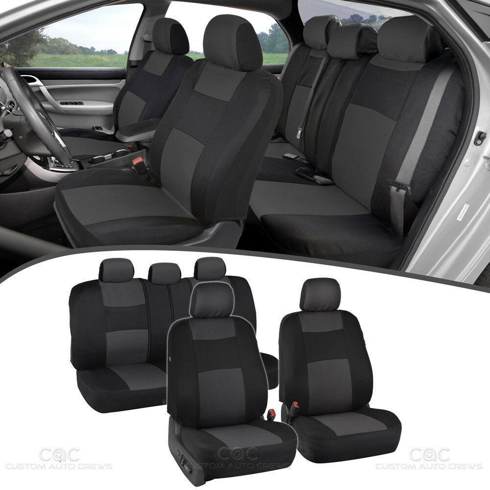 Charcoal Car Seat Covers For Sedan SUV Truck Set Split