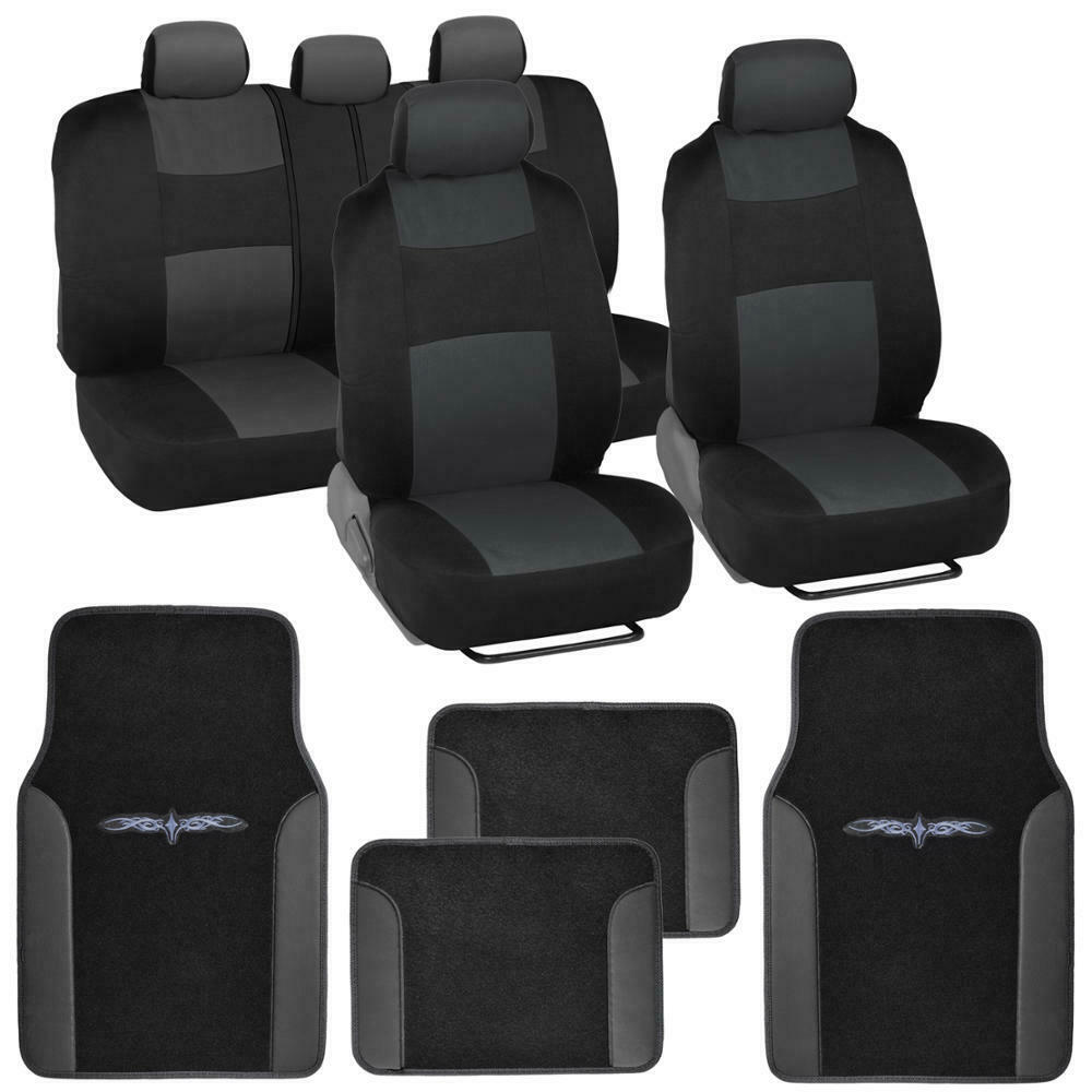 car seat covers set black charcoal grey w pu leather trim carpet pad floor mats ebay. Black Bedroom Furniture Sets. Home Design Ideas