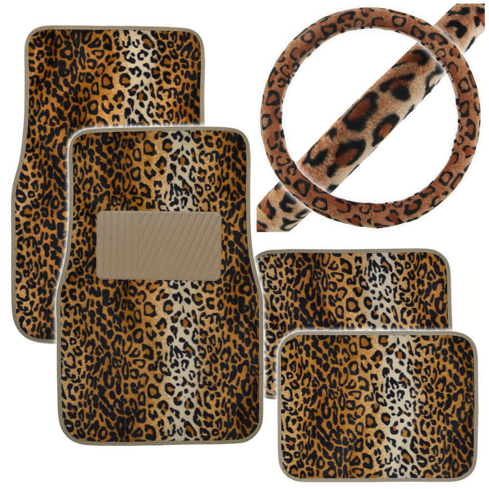 animal print front rear car floor mats steering wheel cover set tan leopard ebay. Black Bedroom Furniture Sets. Home Design Ideas