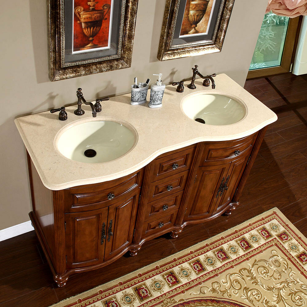 55 Inch Creamy Marble Top Double Sink Bathroom Vanity
