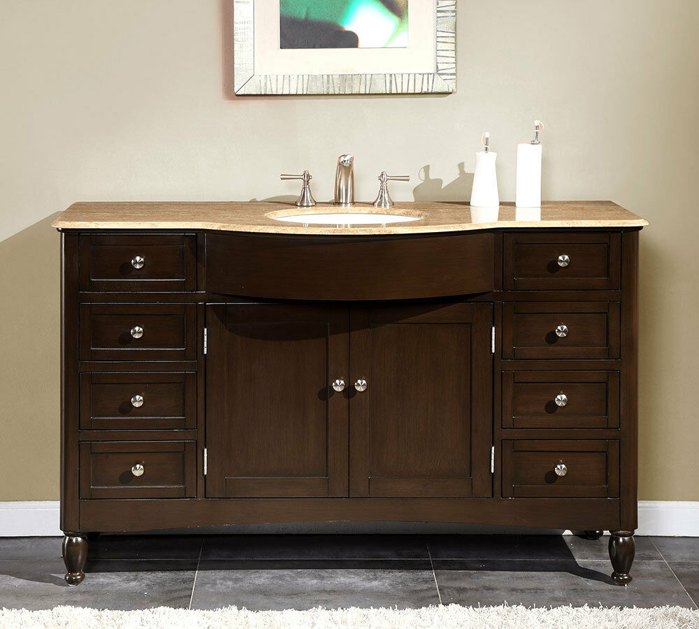 58 inch travertine top bathroom single sink vanity large 12225