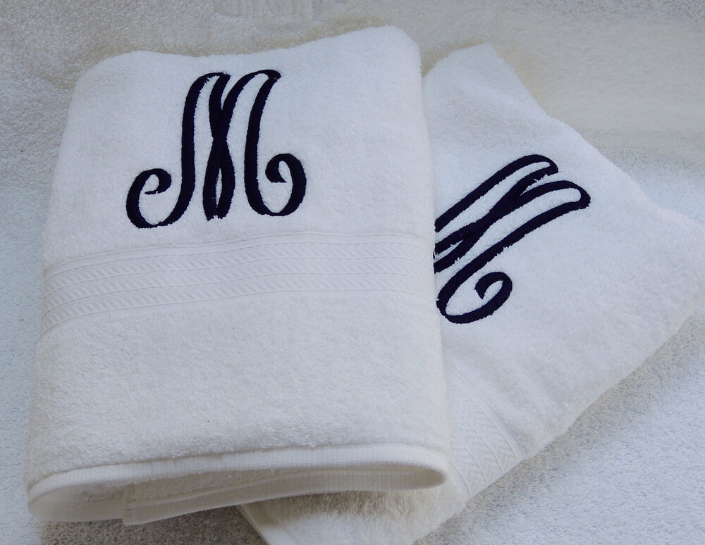 Monogrammed 2 white bath towels set from grandeur for How to get towels white