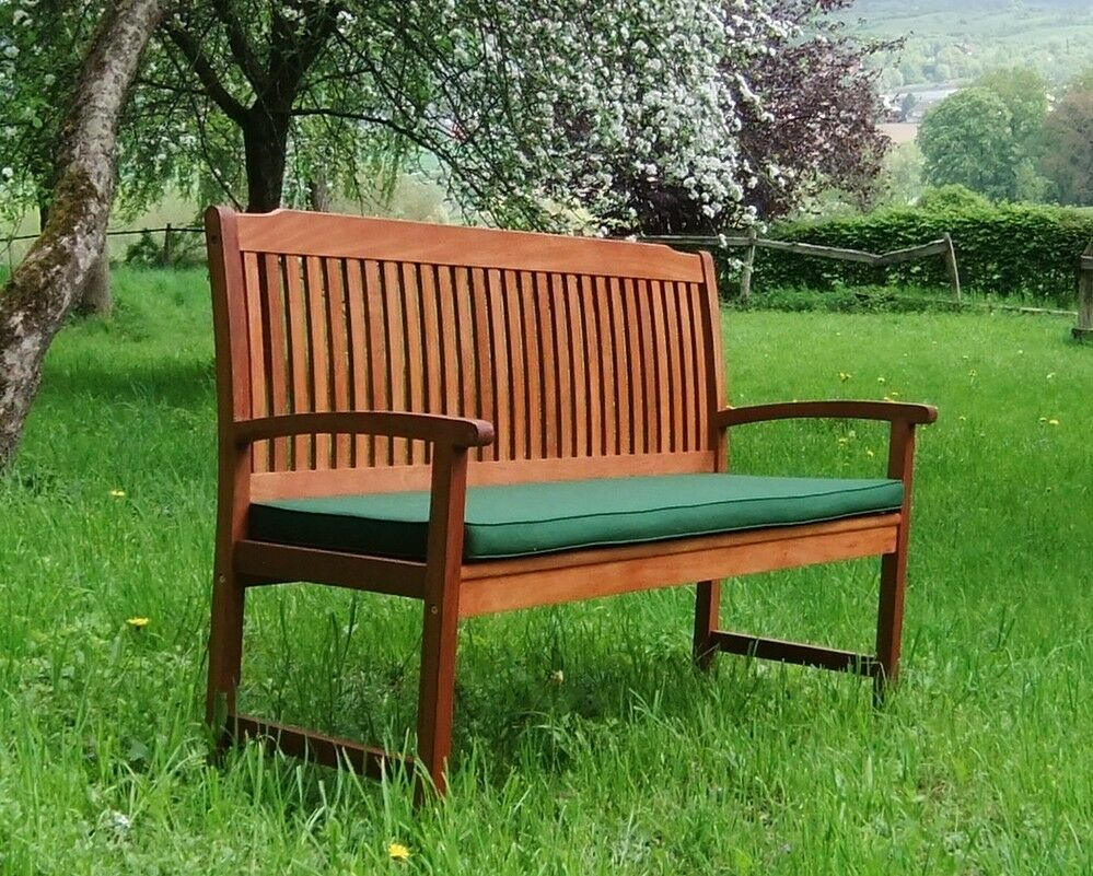 3 sitzer bank new bench sitzkissen gr n holz gartenbank bangkirai hartholz ebay. Black Bedroom Furniture Sets. Home Design Ideas