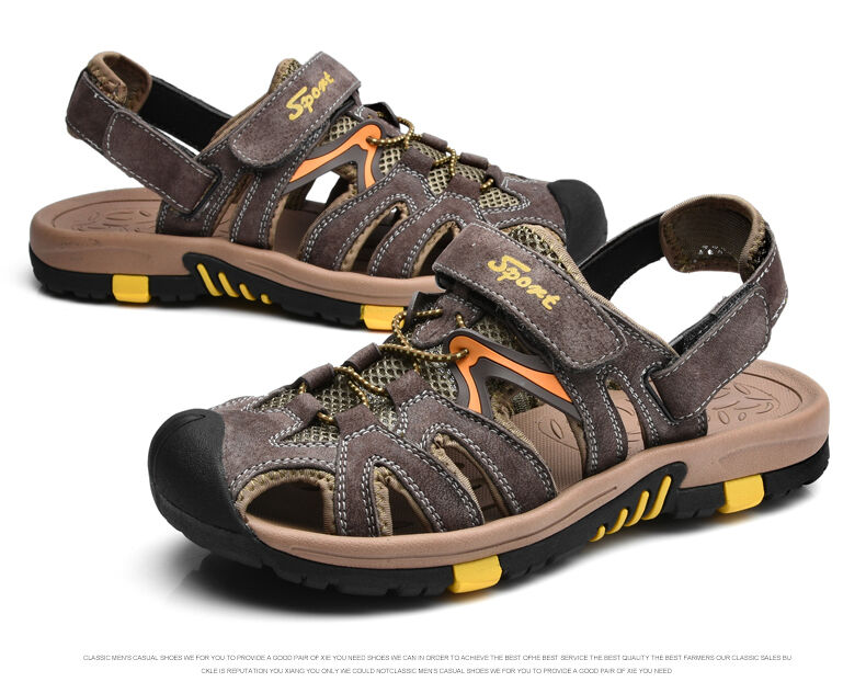 mens sport leather sandals casual shoes for fisherman