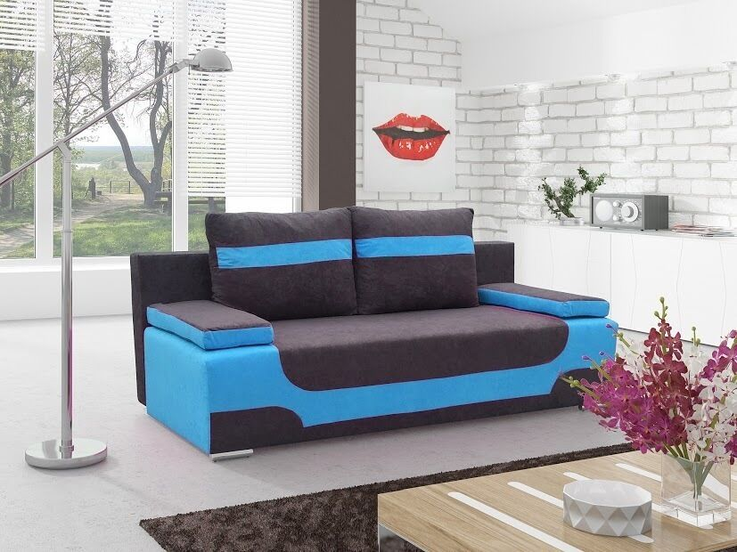 sofa area3 couch 2 sitzer 2er mit bettfunktion bettkasten schlaffunktion 01189 ebay. Black Bedroom Furniture Sets. Home Design Ideas