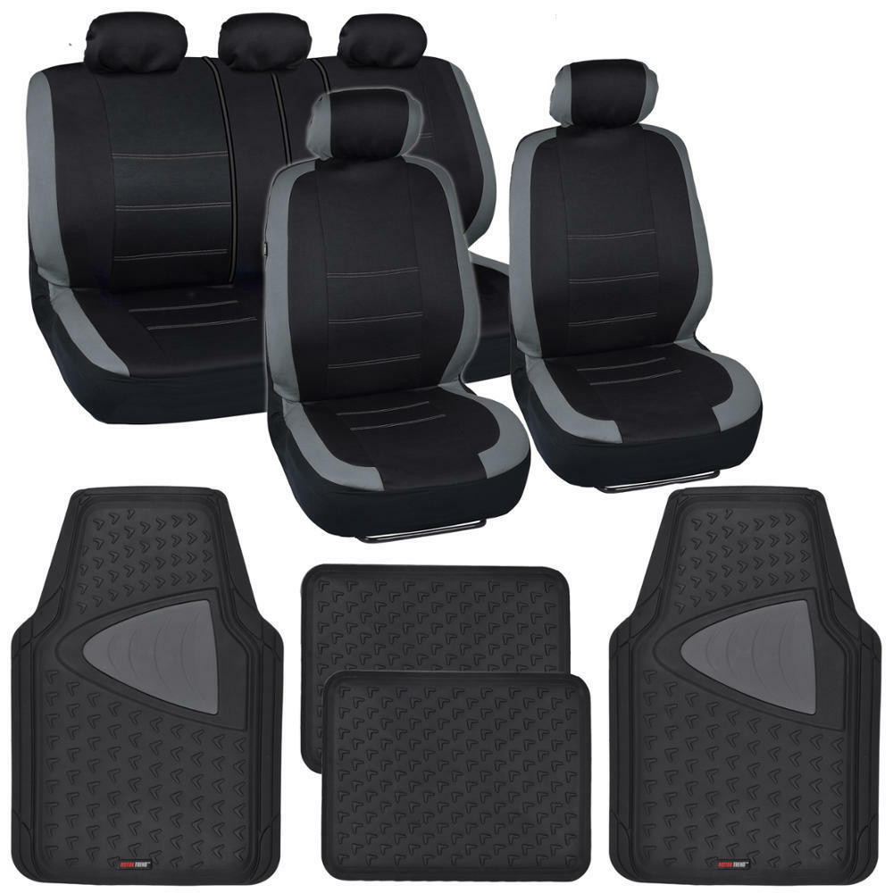 13pc Seat Covers & Floor Mats For Car Black/Gray W