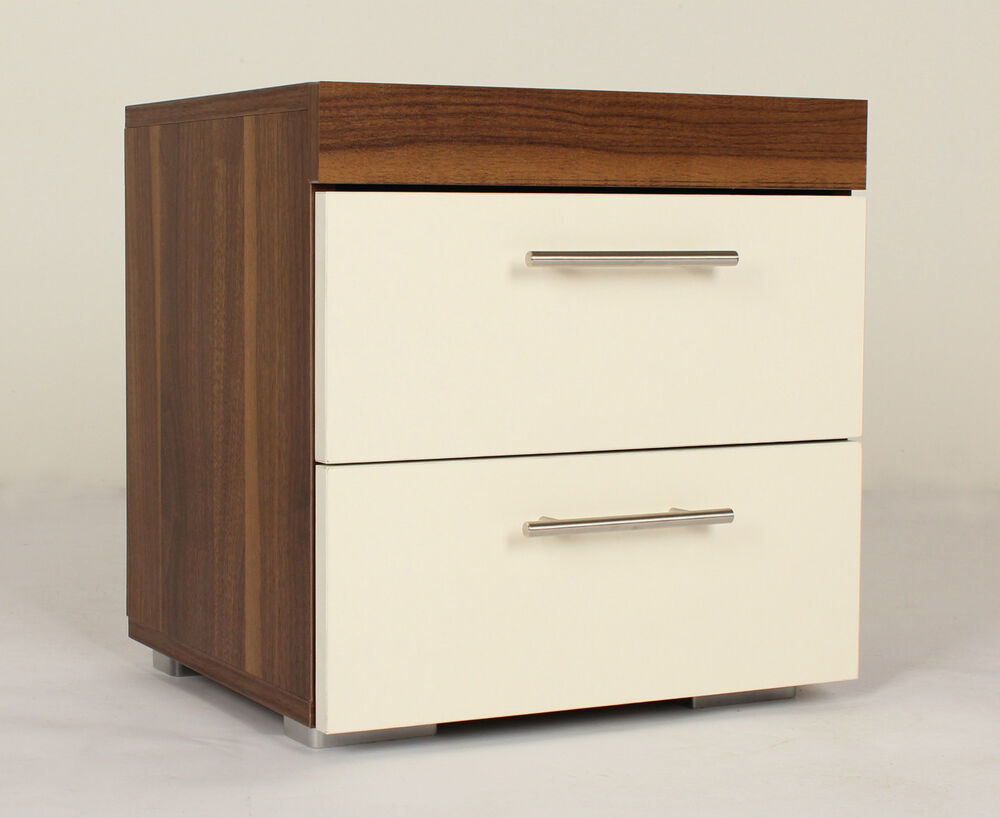 White bedside table modern bedroom cabinet 2 drawers for White wood nightstand