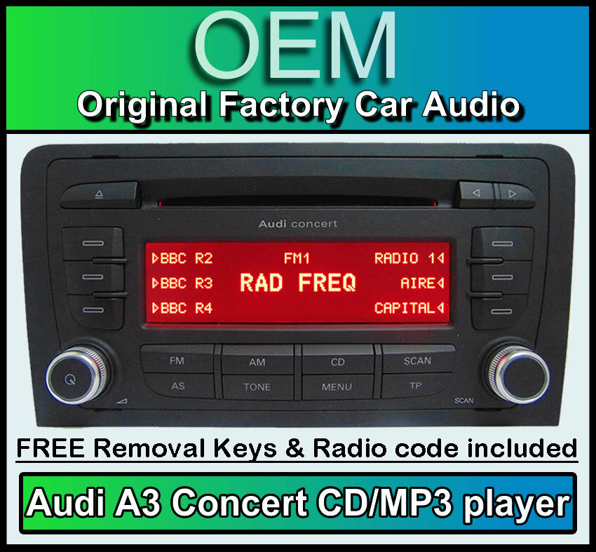 Audi A3 CD MP3 Player, Audi Concert Car Stereo Head Unit
