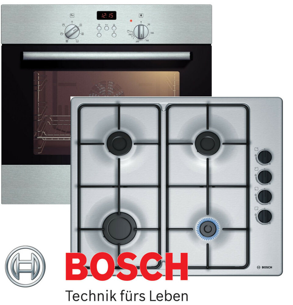 gasherd set bosch elektro backofen umluft gas kochfeld edelstahl stahlplatte ebay. Black Bedroom Furniture Sets. Home Design Ideas