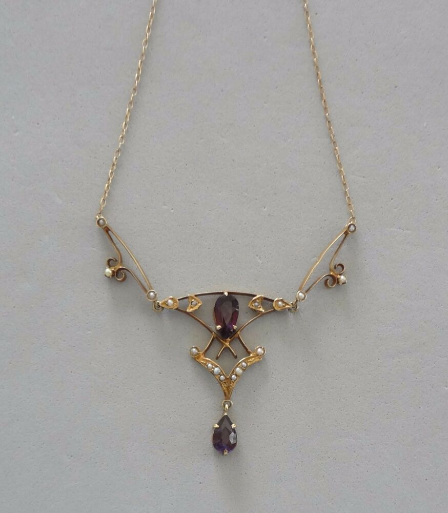 Victorian 14k Yellow Gold Amethyst Amp Seed Pearl Lavalier