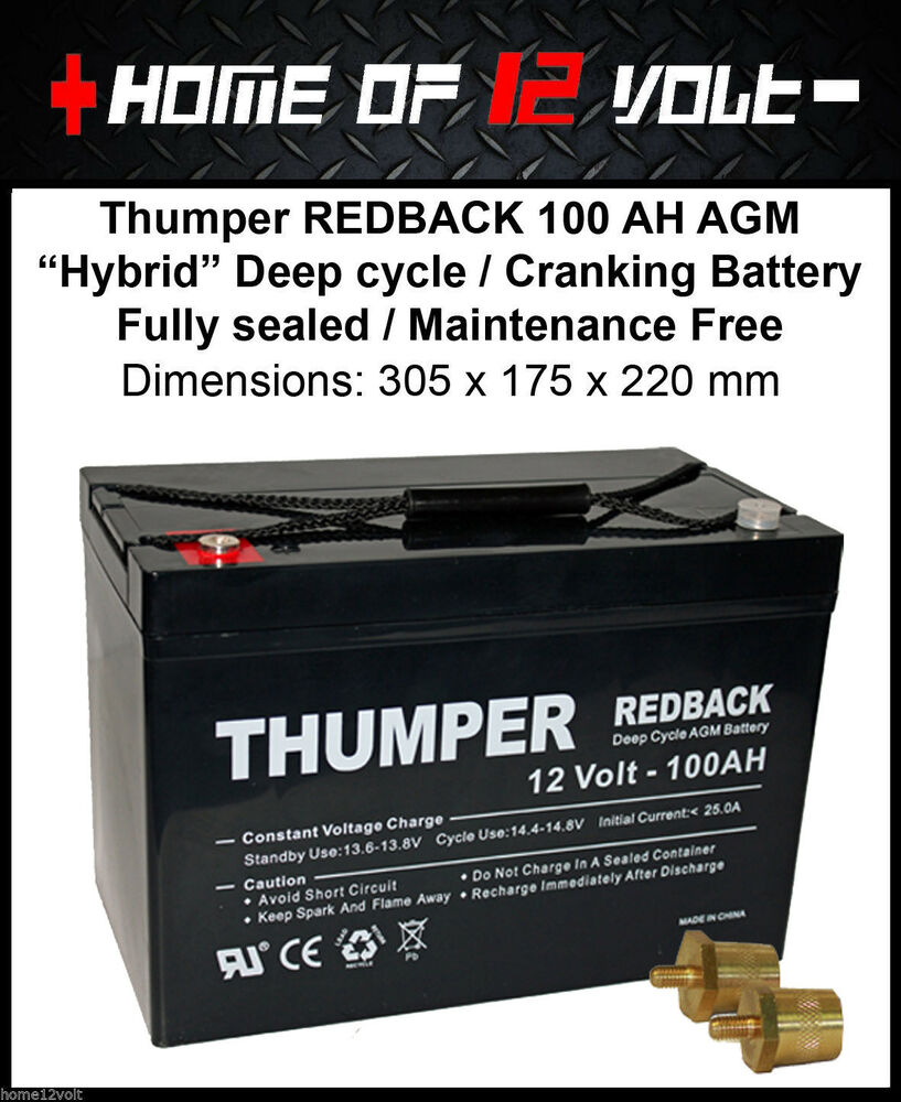 thumper redback 100 ah agm sla battery deep cycle m8. Black Bedroom Furniture Sets. Home Design Ideas