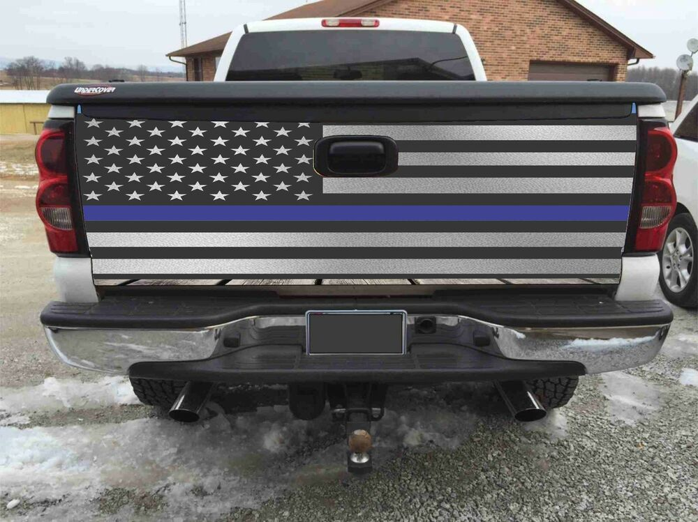 American Flag Blue Line Police Tailgate Wrapvinyl Graphic