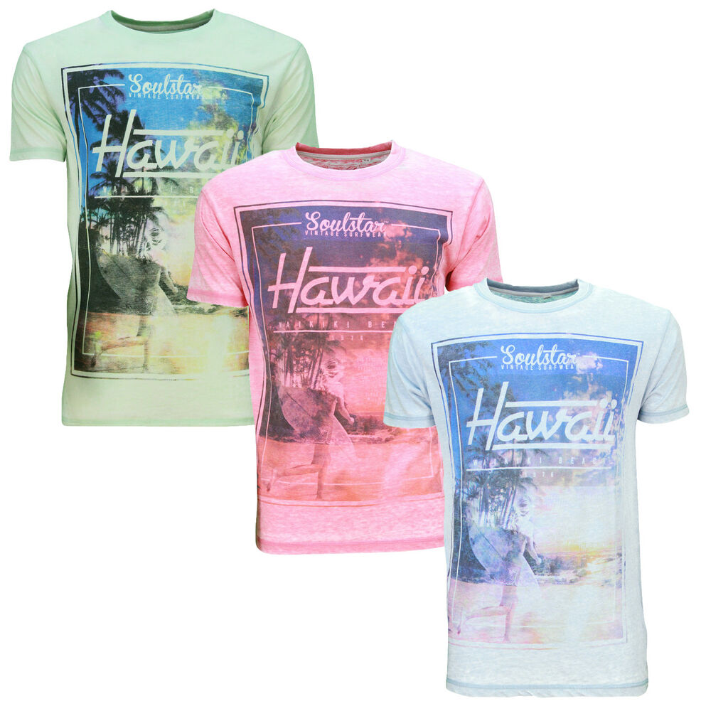 Soul star new men 39 s print t shirt graphic hawaii beach for Hawaiian graphic t shirts