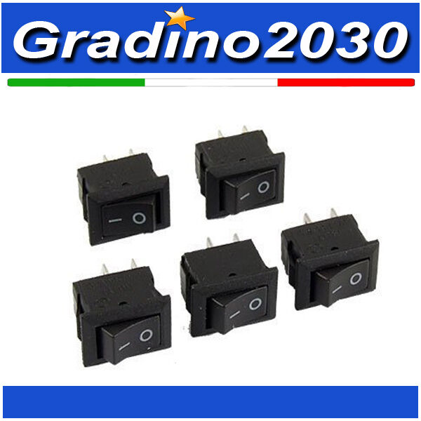 5 Pezzi - Interruttore on/off switch 250VAC 3A 2 Connettori pin