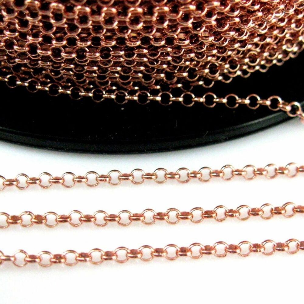 Rose gold plated sterling silver chain 2mm rolo chain for Craft chain by the foot